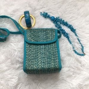 Handbags - Straw blue crossbody